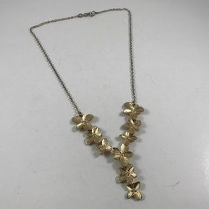 Vintage Gold Tone Flower Necklace, Vintage Jewelry